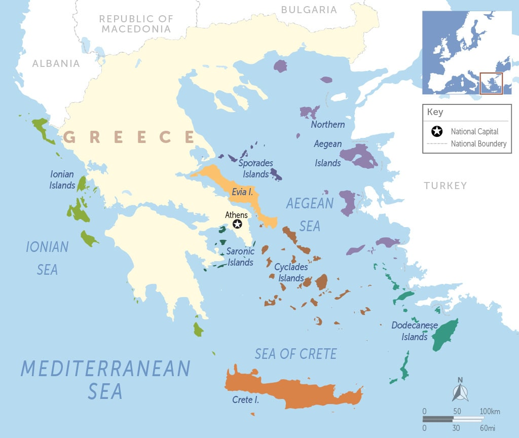Greek Island Groups Map