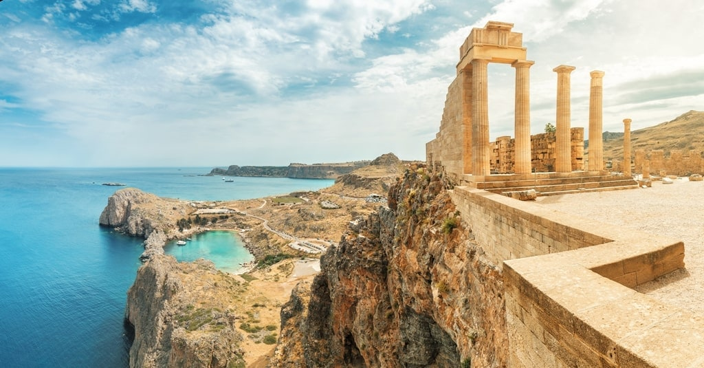 Lindos Acropolis with St Paul's Bay, Rhodes - Land scape in Athens