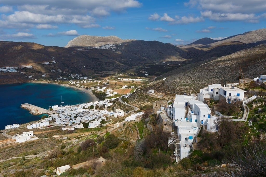 Aegiali Village as seen from a hiking trail in Amorgos - best Greek islands for hiking