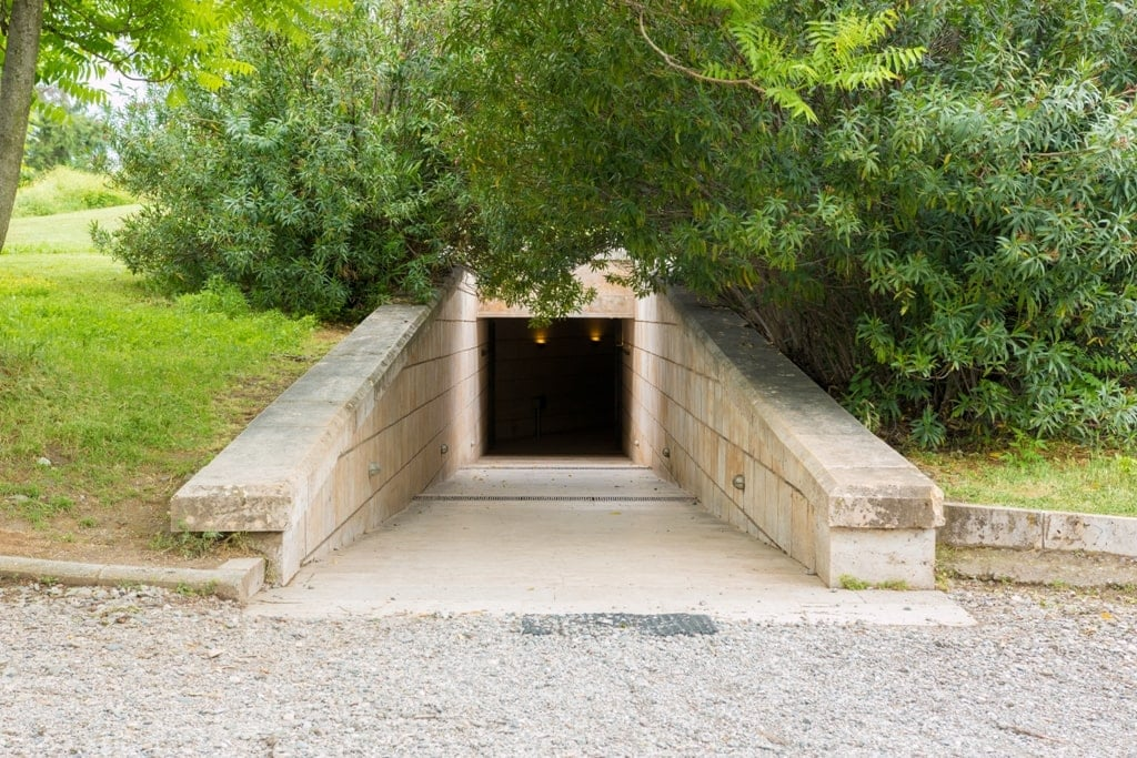 Entance to the Tomb of Vergina - UNESCO World heritage site in Greece