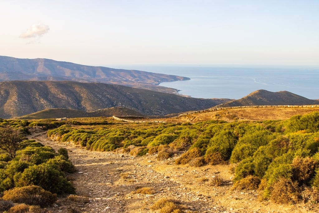 Hiking trail in Andros island Greece - best greek islands for hiking
