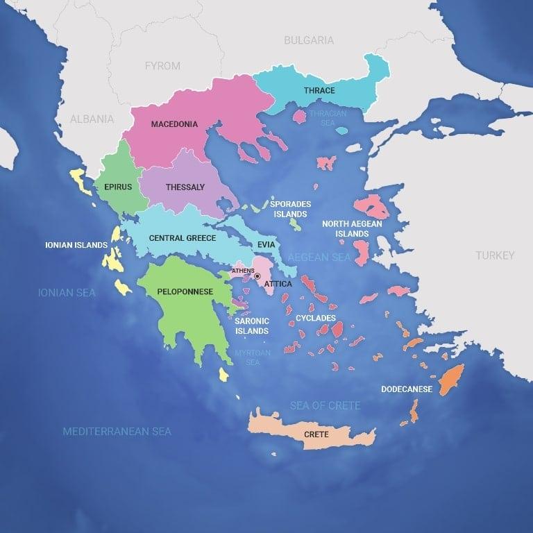 Map of Mainland Greece