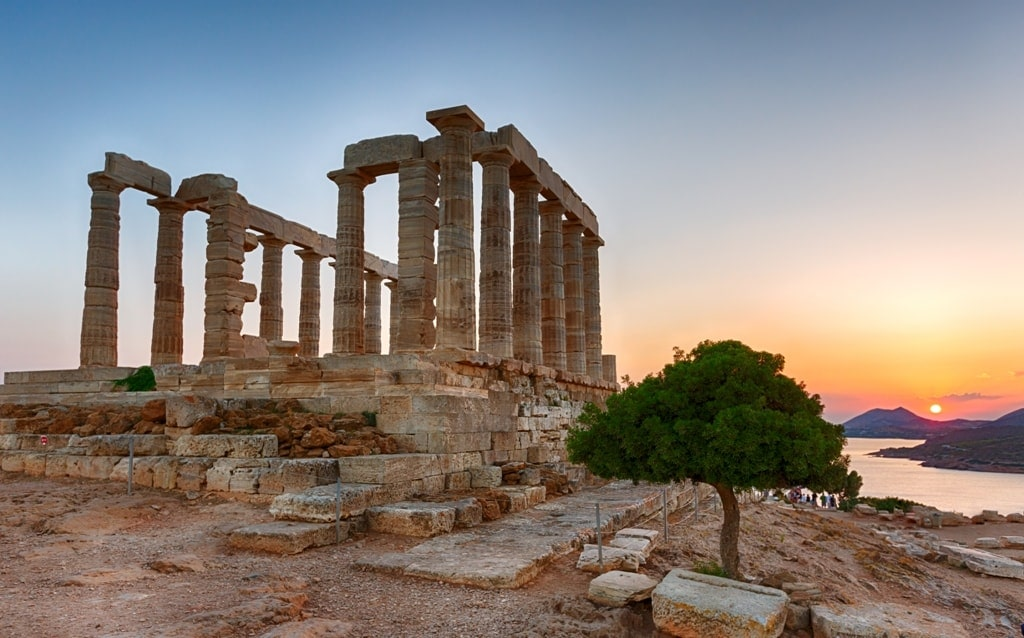 Sunset at Temple of Poseidon in Sounio Greece
