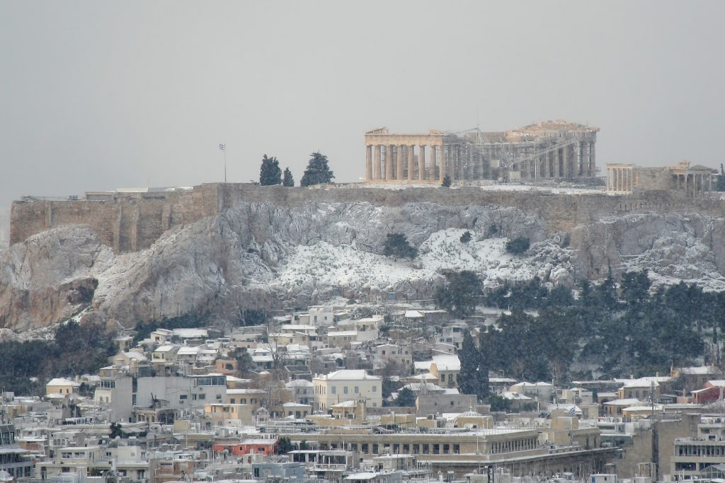 Acropolis under snow - Does it snow in Athens