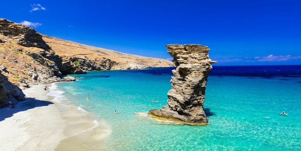 Grias Pidima Beach - best beaches in Andros Greece