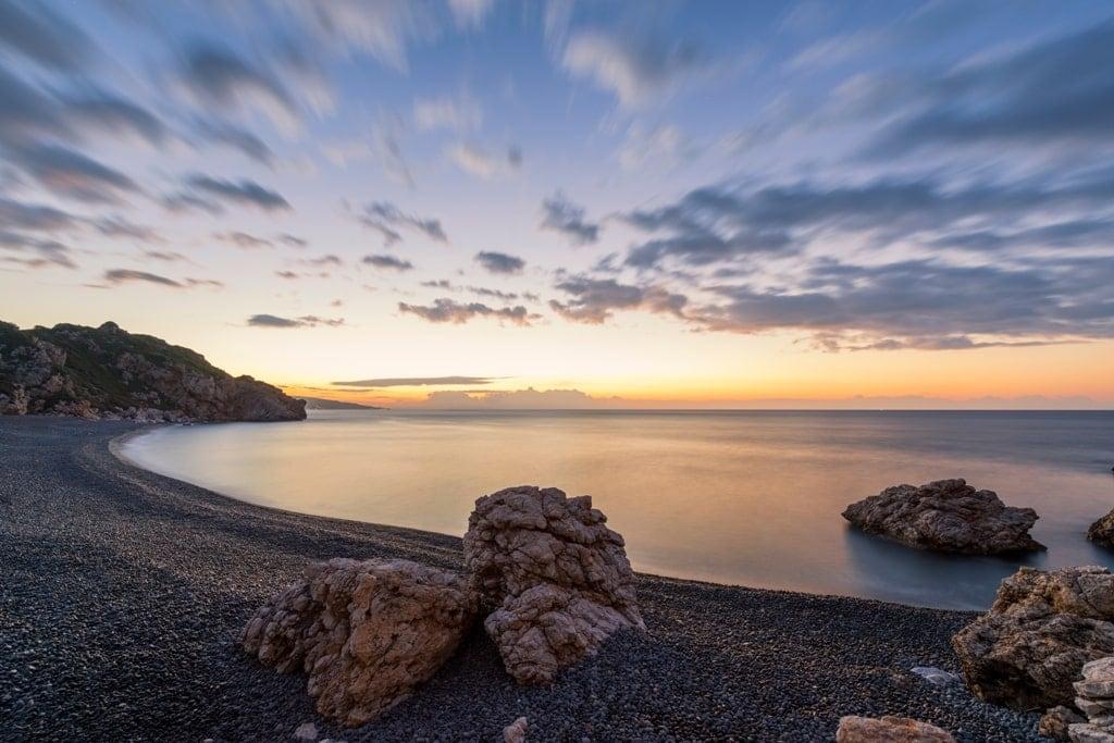 Mavra Volia beach on Chios island in Greece.