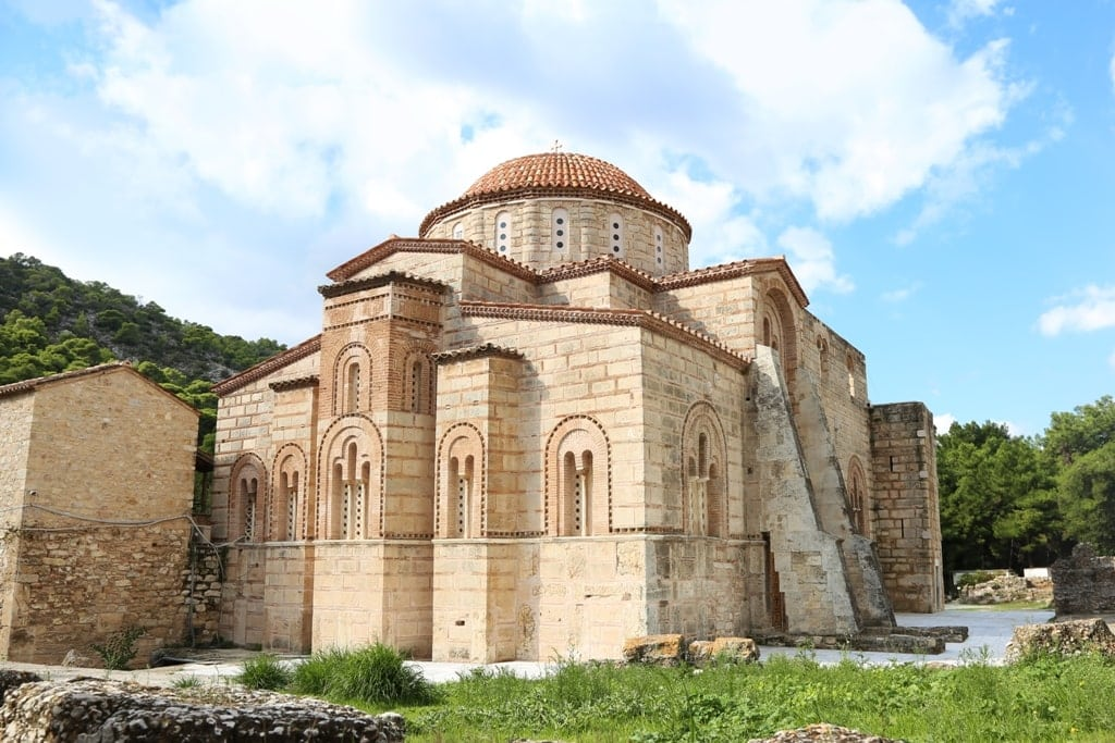 the old Daphni monastery in Athens Greece - UNESCO Site