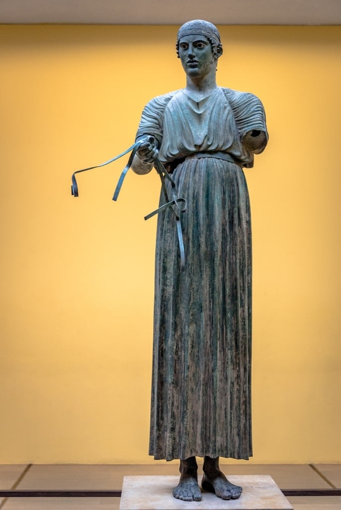 Bronze statue of the Charioteer at Temple of Apollo, Delphi, Greece.
