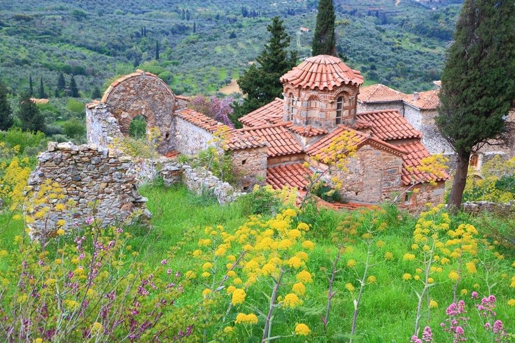 Greek church inside byzantine fortress of Mystras, Greece