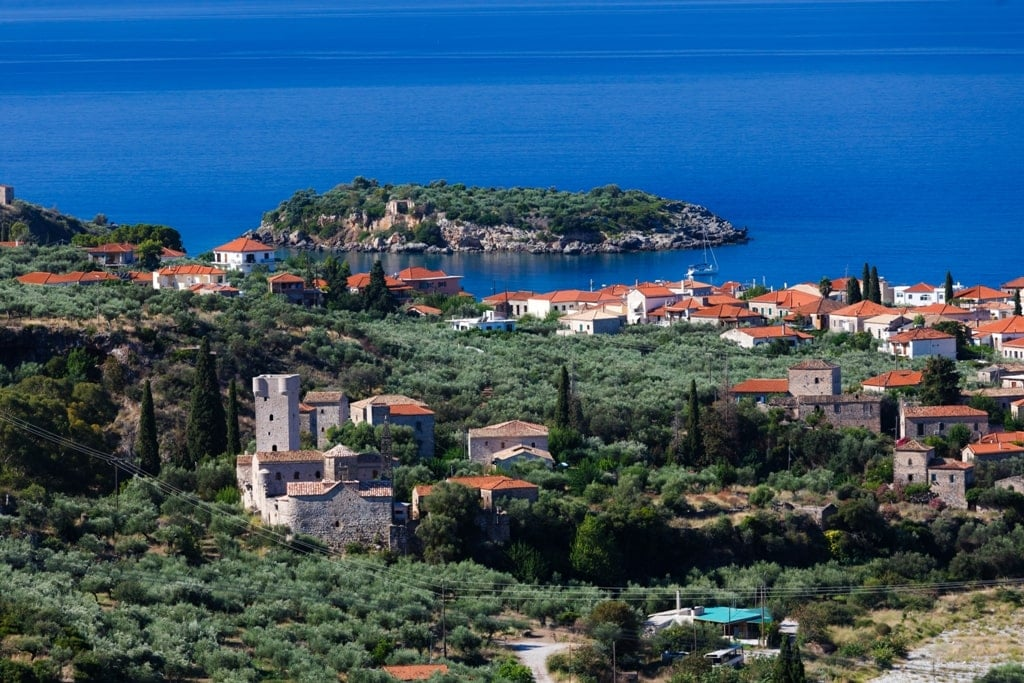 Panoramic view of Kardamyli - roadtrip in the Peloponnese