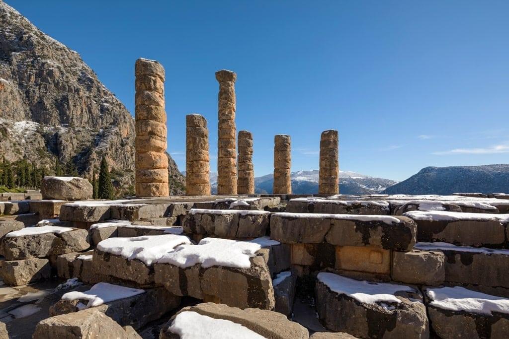 Delphi in winter, Greece