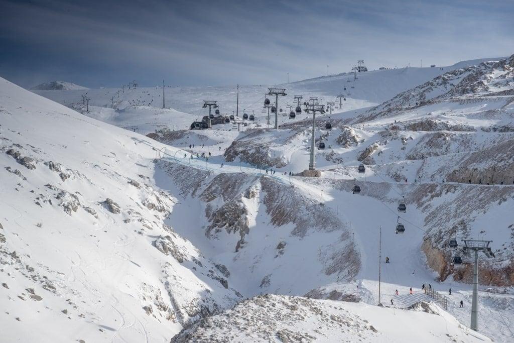 Ski resort in Mount Parnassos in winter