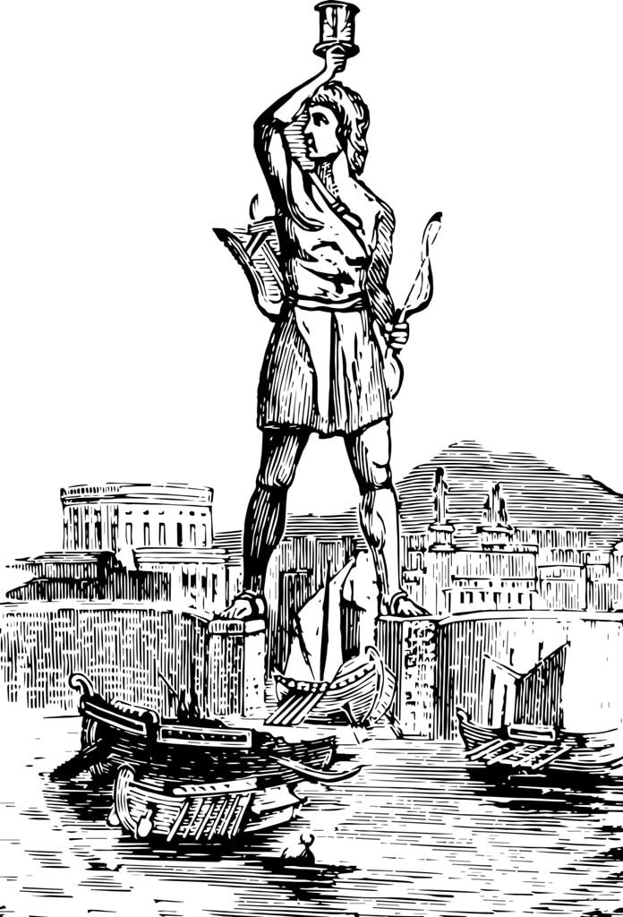 The statue of Colossus at Rhodes, vintage line drawing or engraving illustration.