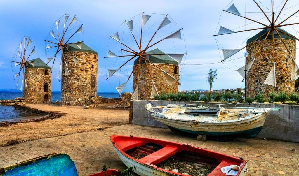 old windmills over the sea in Chios island
