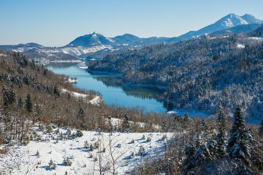 Lake Plastira in Thessaly Greece in winter