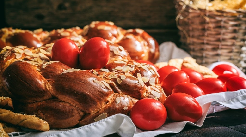 Easter traditional bread and red eggs - Easter in Greece