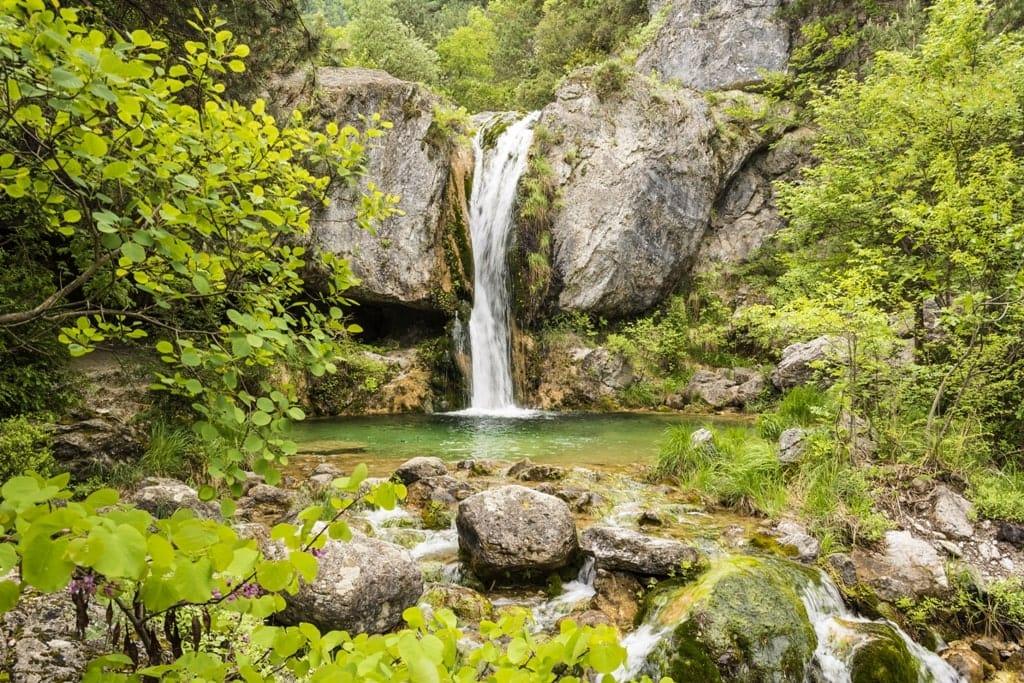 Orlias forest waterfalls in Greece