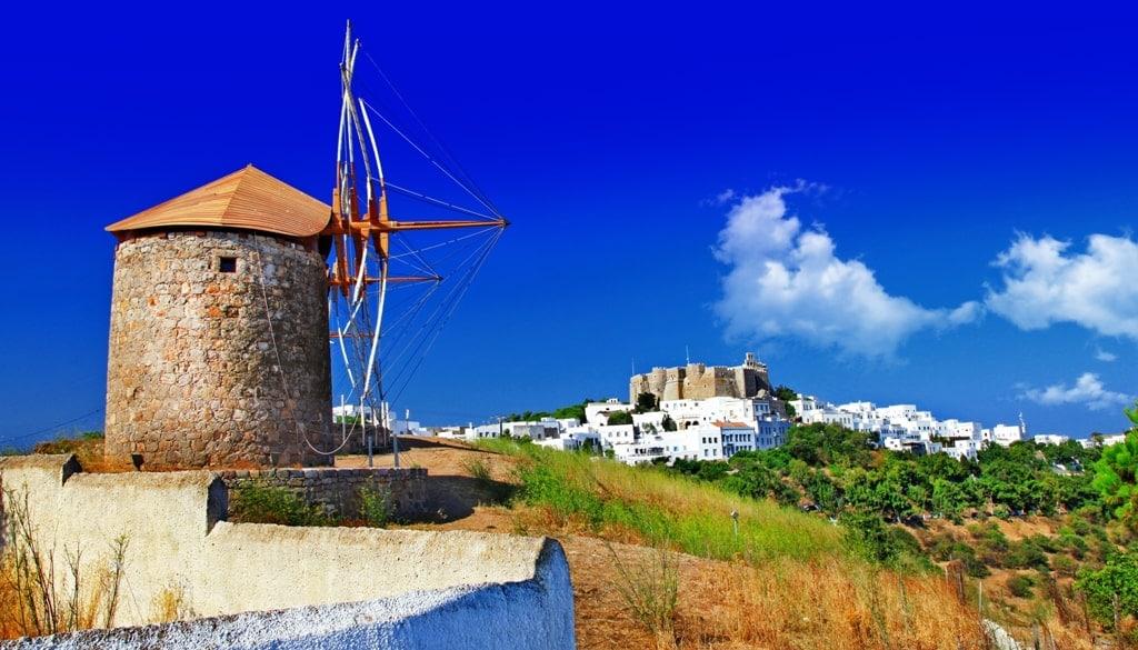 Windmills in Patmos Greece