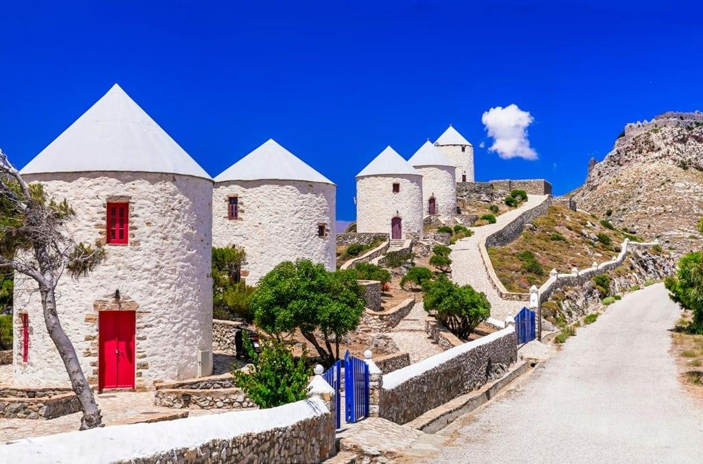 traditional Greece windmills - leros island