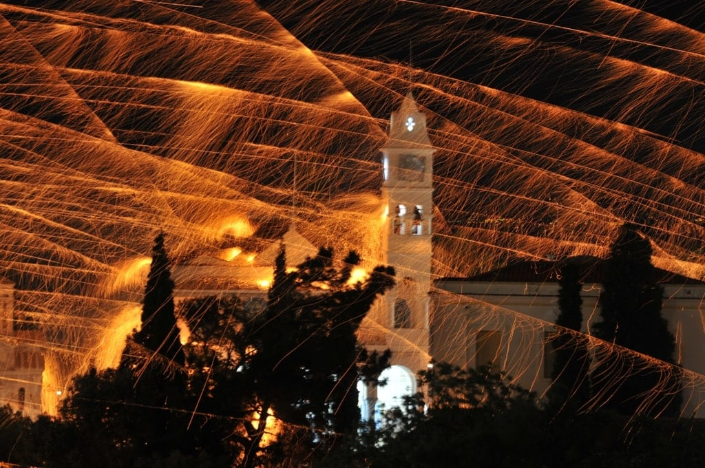 rocket battle in Chios village - Greek Easter traditions