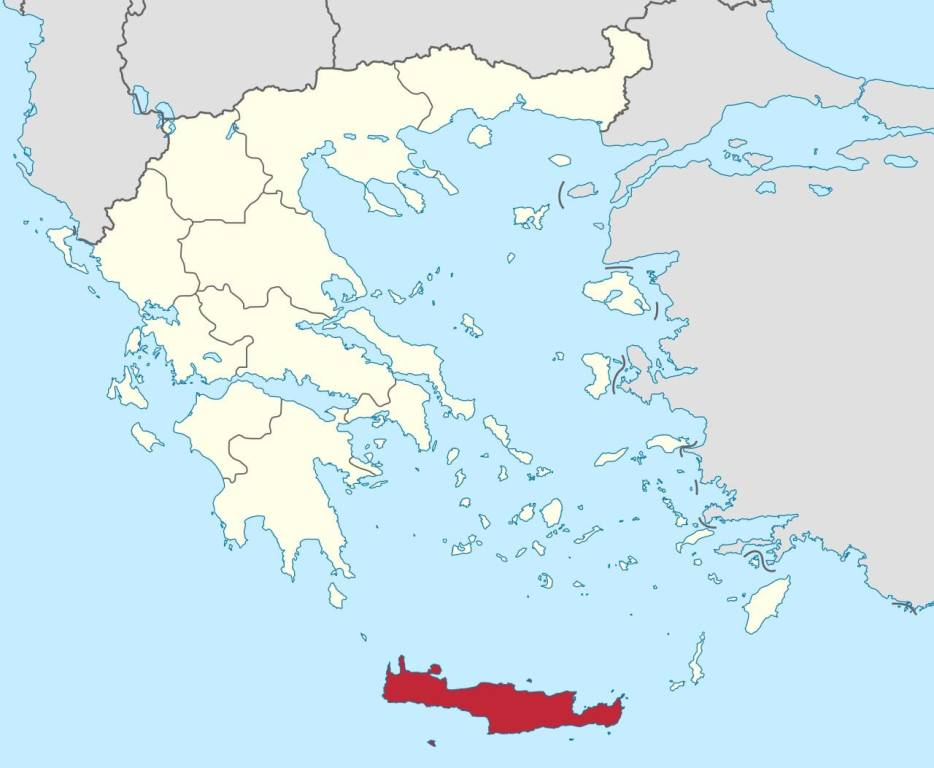 Where is Crete on a map?