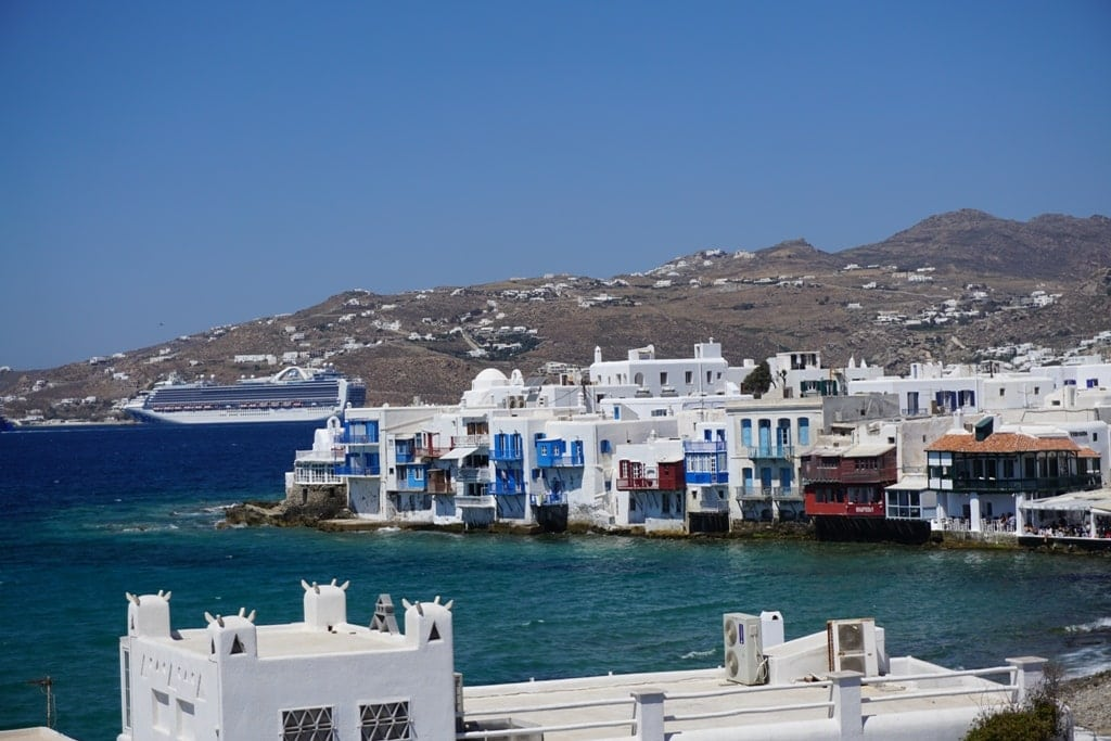 view of Little Venice from the windmills  in Mykonos