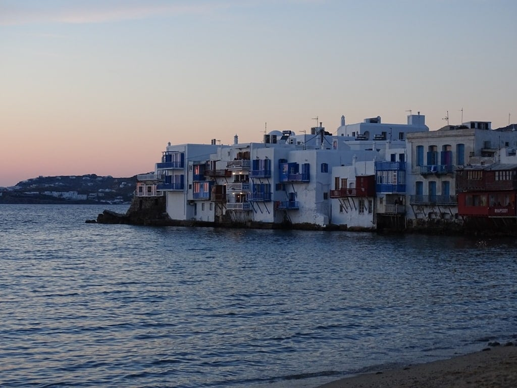 sunset in Little Venice Mykonos