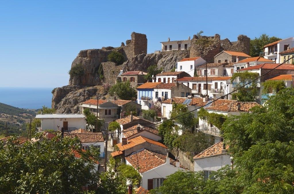 Village of 'Chora' at Samothraki island in Greece - unspoilt Greek islands