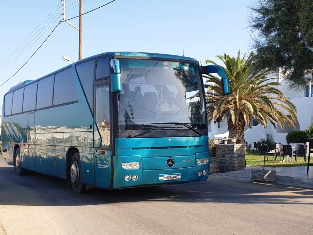 public bus in Naxos island Greece