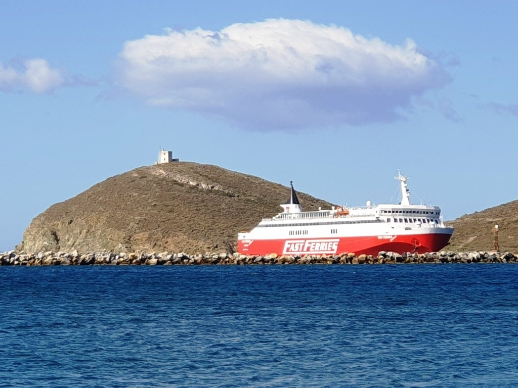 how to get from Athens to Andros