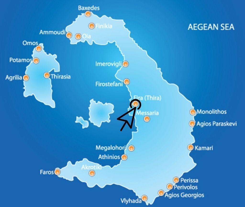 Where is Fira map Santorini