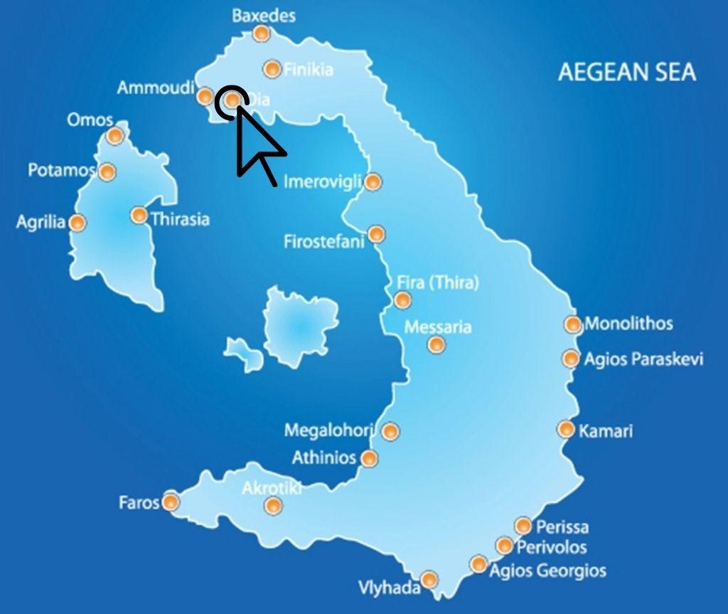 where is Oia, Santorini map