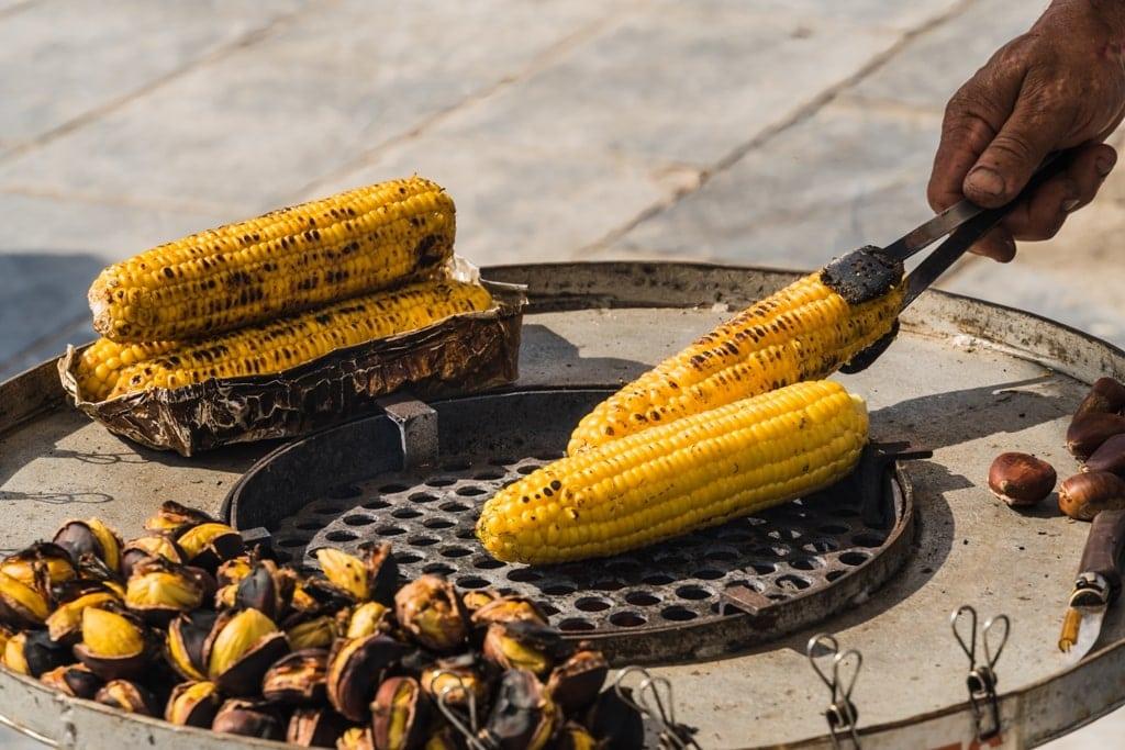 corn on a comb - street food in Greece