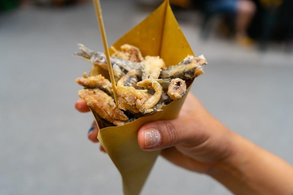 fish in cone - greek street food