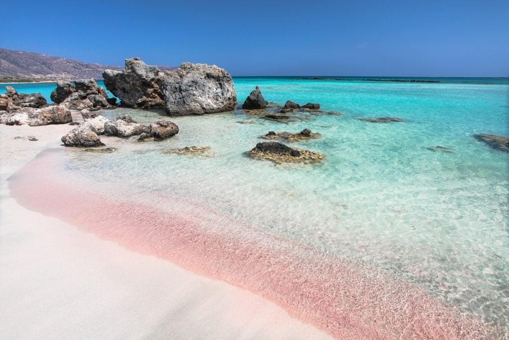 Pink beach in Crete Elafonisi
