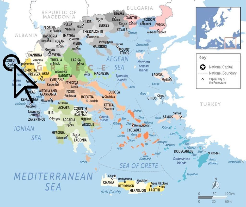 where is Corfu map